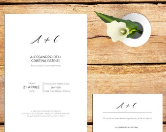 invitation, Wedding participation-full wedding Suite-Minimal