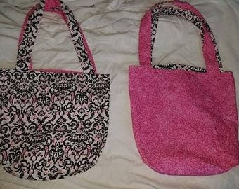Reversible Pink, White, and Black Tote Bag