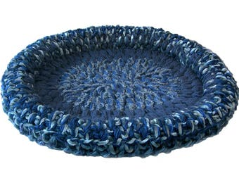Pet Bed Basket Blue 24-Inch Cat Bed Dog Bed Basket Mat Pad Denim Sapphire Slate