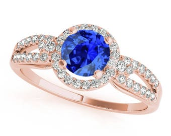 1.15 Ct. Halo Tanzanite And Diamond Engagement  Ring In 14k Gold
