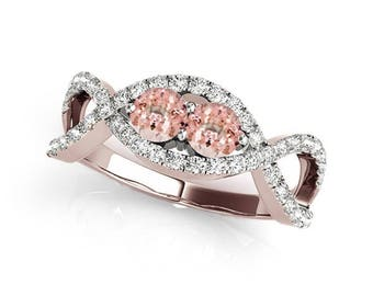 1.15 Ct Two Stone Morganite And Diamond Engagement Ring 14K Gold