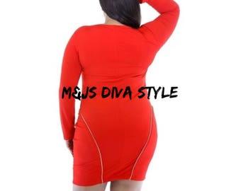 Red zipper dress