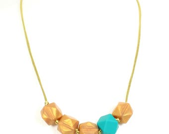 Geo Beads Silicone Teething Necklace Gold Turquoise