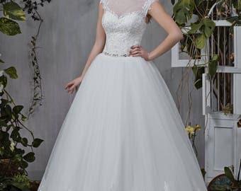 Wedding dress wedding dress bridal gown JUDI princess dress beadwork lace ivory pompous beadwork