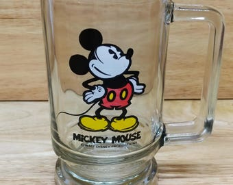 Mickey Mouse Glass Root Beer Mug Cup Vintage Walt Disney Productions