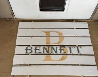 Wood door mat, personalized door mat, wooden wall decor, wall hanging, porch decor, custom door mat, custom wall hanging, personalize decor
