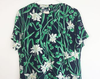 80s Floral Top - Pendleton Country Sophisticates - Navy Green White