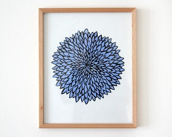 Blue flower chrysanthemum, woodblock, woodblock print, print, print, prints, original art, gift