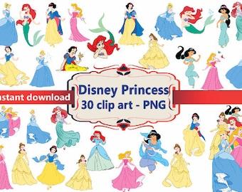 INSTANT DL- 30x Disney Princess   Clipart - printable Digital Clipart Graphic Instant Download