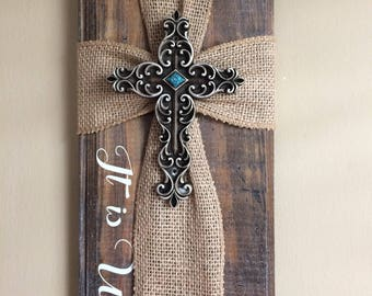 It is well decor - ribbon cross - wooden cross - rustic wooden cross - wall decor - christian decor - hymn cross -  wood cross -