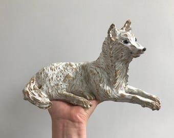Handmade ceramic sculpture - white wolf