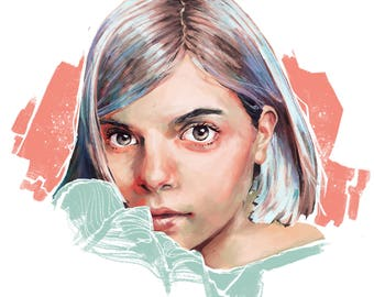 Custom Digital Portrait   Optional Prints