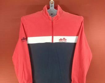 Vintage Ellesse Long Sleeve Shirts Pullover Half Zip Shirts Red Blue Split Colour Ellesse Sweatshirts Polo Ralph Lauren  Sportwear Sweater