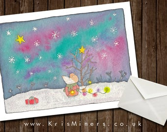 Magical, Whimsical Northern Lights Christmas / Winter Greetings Card
