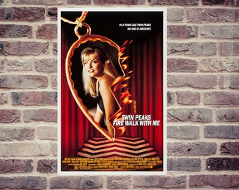 Twin Peaks fire walk with me poster. David Lynch movie poster. Laura Palmer poster.