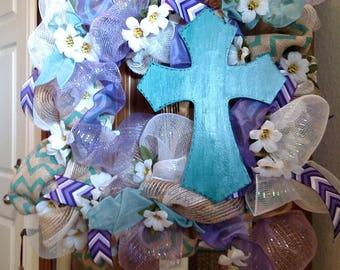 Purple and Teal Cross Wreath