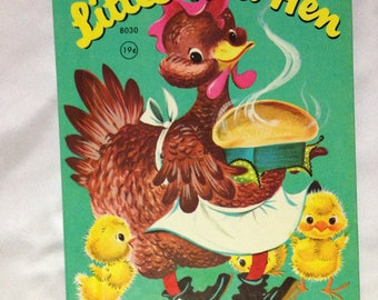 Vintage Children Books - The Little Red Hen - A Rand McNally Junior Elf Book - copyright 1957 - 1st edition - One of a Kind!