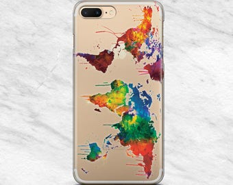 World Map iPhone 7 case Watercolor Samsung S8 Plus case Map Samsung case iPhone World iPod Touch 6 case LG G6 Map Google Pixel case clear