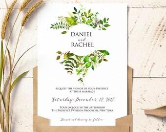Woodland wedding invitation, printable woodland wedding, greenery wedding invitation, printable greenery wedding invitation
