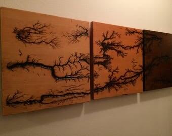 High Voltage Wall Art, fractal wood burning / lichtenberg patterns