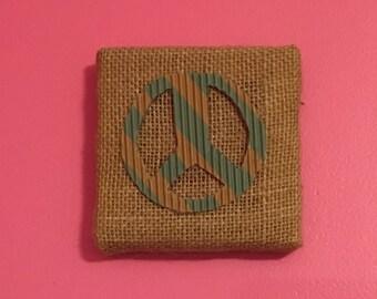 Mini Peace Sign Weaved Canvas Wall Art