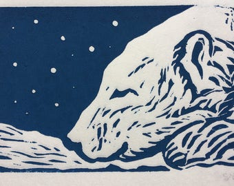 Polar Bear Lino Print Art