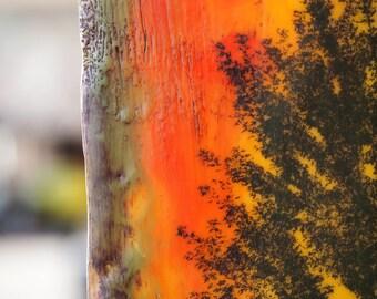 Fall Tree, original encaustic painting, wall art on cradled panel