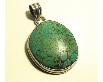 Vintage sterling Silver and turquoise; Vintage pendant in silver and Turquoise; Silver 925; Vintage Jewelry. Tribal. Native American.