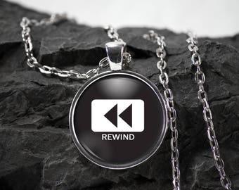 Music Glass Pendant Rewind necklace dj jewelry rewind gift music pendant photo pendant art pendant photo jewelry glass jewelry