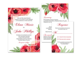 Red Poppies Wedding Invitations, Summer Wedding Invitation Suite, Fall Wedding, Floral, Scarlet Flowers, Custom, Personalized, Printed