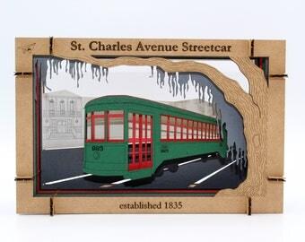 St Charles Ave Streetcar 3D Papercraft Diorama