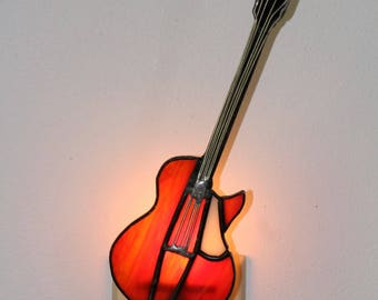 Stained Glass Guitar Night Light