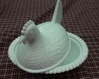 Milk Glass Nesting Hen