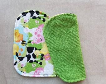 Baby Burp Cloths, Flannel, Baby Shower Gift, New Baby, farm animals, cow, pig, sheep, ducks