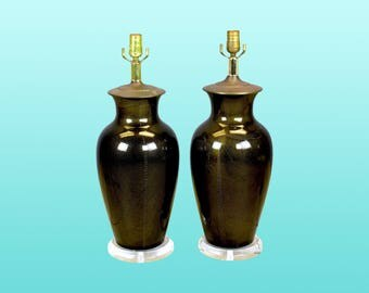 Pair of Mid Century Black Table Lamps On Lucite Bases - Vintage Porcelain Lamps