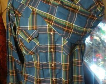 Vintage Ely Plains Western Shirt Size Large/Vintage Ely Plains Shirt/Blue Ely Plains Long Sleeved Shirt. Made in Korea.