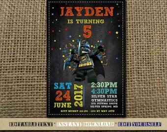 Batman Invitation,Batman Birthday,Batman Birthday Invitation,Batman Party,Batman Editable,Batman Birthday Party-SL21