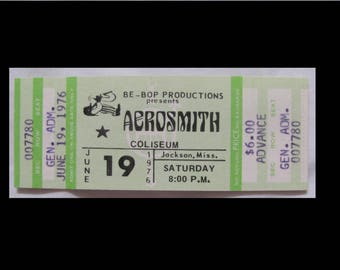 Aerosmith  1976 Rocks Tour Complete Unused Concert Ticket FREE US SHIPPING