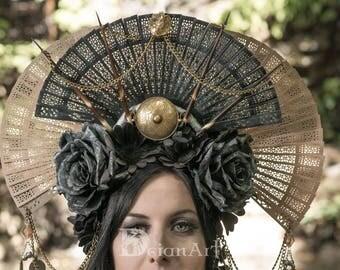 Narhy-Headdress Flowers Crown Roses Silver Black Fans Spines Gothic Wicked Headpiece Headwear