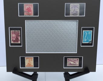 Thailand 8x10 photo mat frame featuring vintage Thai postage stamps