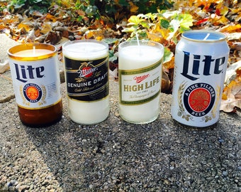 Upcycled Miller Beer Bottle and Beer Can Candle - Miller Genuine Draft - Miller High Life - Miller Lite - Perfect Gift for a Beer Lover!