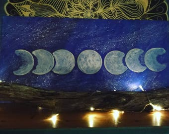 Starlit moon painting - Now SOLD can be remade in same colour