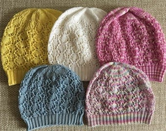 Baby Knit Hat, Lace summer hat, Baby Girl Summer Hat, Sun hat for babies, Cotton Hat