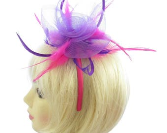 Purple and Fushia Pink Fascinator Headband Weddings, Races, Prom