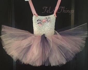 Pink, Navy & White Tutu dress and headband Newborn 0-3 months 3-6 months 6-9 months 12 months