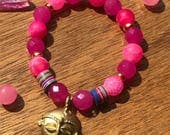 Authentic Vintage African Tribal Mask Charm Bracelet Stack bracelet Jade gemstone Pink Agate African Vinyl Beads Stretch Bracelet