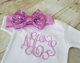 Monogram Onesie, Personalized Onesie, Personalized Girl Outfit, Newborn Girl Outfit, Baby Girl Outfit, Monogrammed Onesie, Custom Onesie