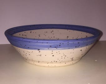 Speckled Ceramic Bowl, Stoneware, Blue and White