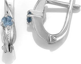 Womens Handmade 925 Sterling Silver Earrings with blue Quartz gemstone, Englsh Lock, Rhodium