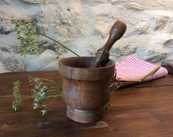 French Vintage Wooden Pestle and Mortar